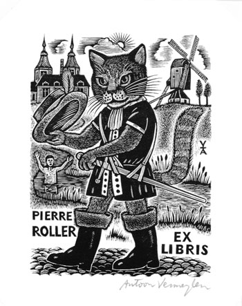 Ank Spronk Cat EX LIBRIS Blokhuis Tiger Kitty Cat Tulips Etching c3 Signed